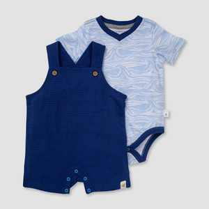 Burt's Bees Baby Boys' Dotted Jacquard Overalls and Waves Bodysuit Set - Dark Blue