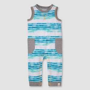 Burt's Bees Baby Boys' Striped Sleeveless Jumpsuit - Blue