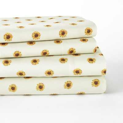 Lakeside Sunflower Bedding Sheet Set with Coordinating Pillow Cases - 4 Pieces