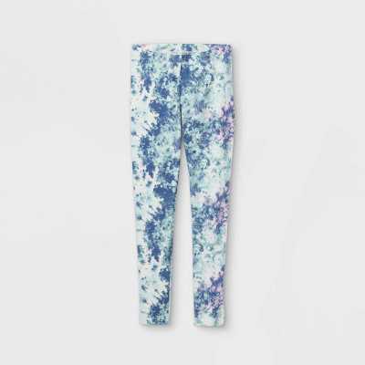 Girls' Tie-Dye Leggings - Cat & Jack Blue/Cream