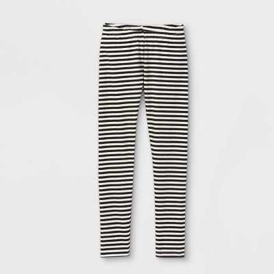 Girls' Striped Leggings - Cat & Jack Black/Cream