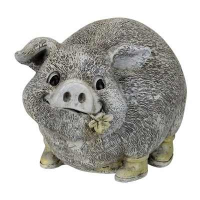 """Roman 6"""" Gray and Yellow Outdoor Pig in Rain Boots Garden Statue"""