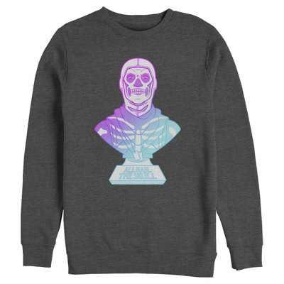 Men's Fortnite Skull Trooper All Hail Glow  Sweatshirt - Charcoal Heather - Large