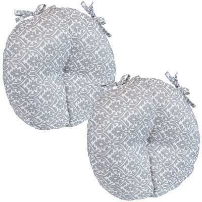 2pk Gray Damask Polyester Round Polyester Indoor/Outdoor Bistro Seat Cushions - Sunnydaze Decor