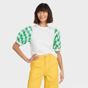 Women's Puff Short Sleeve T-Shirt - Who What Wear Green
