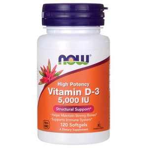 NOW Foods Vitamin D High Potency Vitamin D-3 5,000 Iu Softgel 120ct.