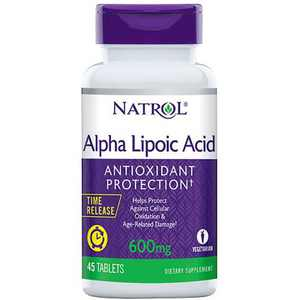 Natrol Dietary Supplements Alpha Lipoic Acid Time Release 600 mg Tablet 45ct