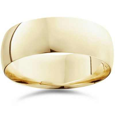 Pompeii3 8mm Dome High Polished Wedding Band 10K Yellow Gold