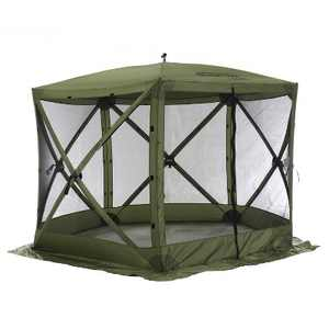 CLAM Quick-Set Venture 9 x 9 Foot Portable Pop-Up Outdoor Camping Gazebo Screen Tent 5 Sided Canopy Shelter with Ground Stakes and Carry Bag, Green