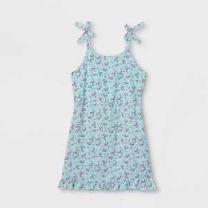 Girls' Floral Shoulder Tie Sleeveless Dress - art class