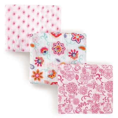 Hudson Baby Infant Girl Cotton Muslin Swaddle Blankets, Floral, One Size