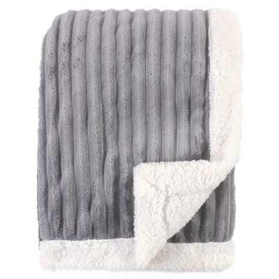 Hudson Baby Infant Corduroy Blanket with Sherpa Backing and Trim, Gray, 30x40 inches