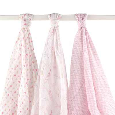 Hudson Baby Infant Girl Cotton Muslin Swaddle Blankets, Pink Feather, One Size