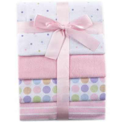 Luvable Friends Baby Girl Cotton Flannel Receiving Blankets, Pink, One Size