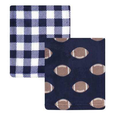 Hudson Baby Infant Boy Silky Plush Blanket, Football, 30x36 inches