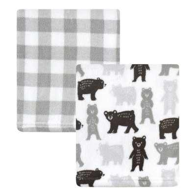 Hudson Baby Infant Girl Silky Plush Blanket, Bears And Plaid, 30x36 inches