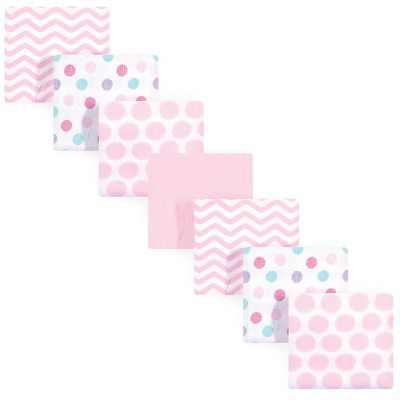 Luvable Friends Baby Girl Cotton Flannel Receiving Blankets, Pink Dots, One Size