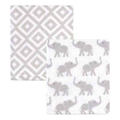 Hudson Baby Infant Silky Plush Blanket, Gray Elephants, 30x36 inches