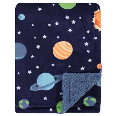 Hudson Baby Infant Boy Plush Blanket with Sherpa Back, Solar System, One Size