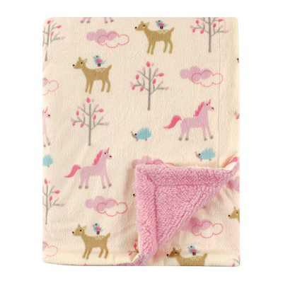 Luvable Friends Baby Girl Plush Blanket with Sherpa Back, Magical Forest, One Size