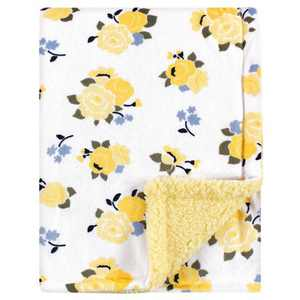 Luvable Friends Baby Girl Plush Blanket with Sherpa Back, Yellow Floral, One Size