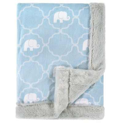 Hudson Baby Infant Boy Plush Blanket with Furry Binding and Back, Elephant, One Size