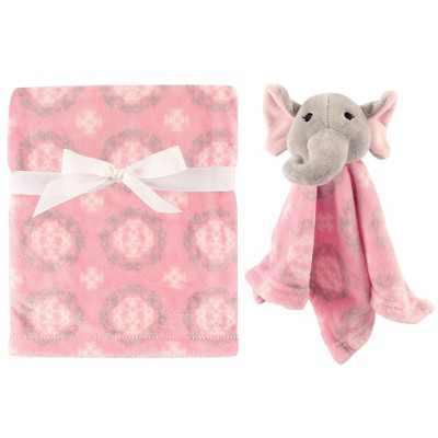 Hudson Baby Infant Girl Plush Blanket with Security Blanket, Girl Elephant, One Size