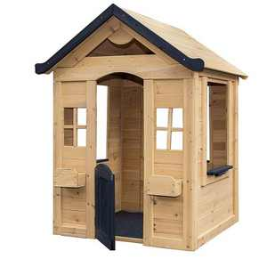 Be Mindful Natural Solid Wood Finish Outdoor Backyard Kids Activity Playhouse for Ages 24 Months to 8 Years old with Hardware and Pre Drilled Holes