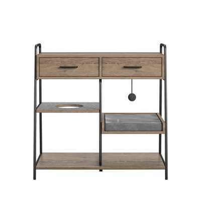 O'Malley Accent Table with Cat Bed, Rustic Oak
