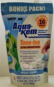 Thetford Aqua-Kem Toss-ins 16 Ct. Fresh Scent Holding Tank Treatment. RV Sewer System Accessory.