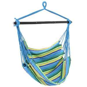 Sunnydaze Hanging Rope Hammock Chair Swing with Collapsible Bar for Backyard and Patio - 265 lb Weight Capacity - Ocean Breeze