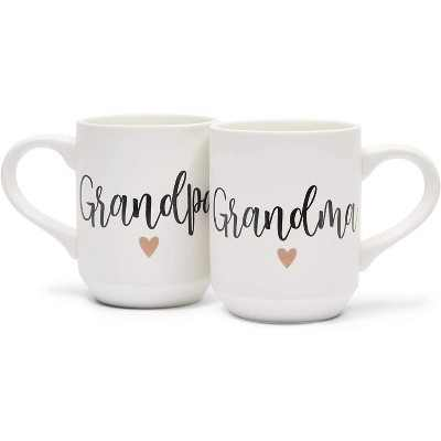 Sparkle and Bash 2-Pack White Ceramic Coffee Mugs Tea Cups, Grandpa & Grandma