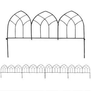 "23.5"" Narbonne Style Steel Decorative Border Fence - Set of 5 - Sunnydaze Decor"