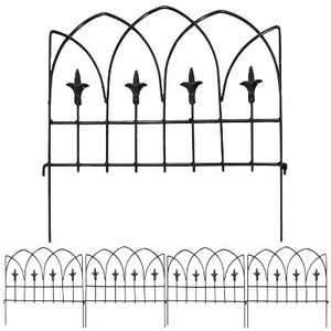 "19.5"" Bayonne Steel Decorative Finial Border Fence - Set of 5 - Sunnydaze Decor"