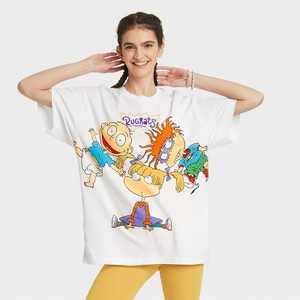 Women's Rugrats Short Sleeve Oversized Graphic T-Shirt - White