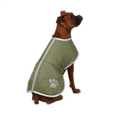 Zack & Zoey UM210 30 43 XXL Reversible, Adjustable, and Waterproof Polyester Nor'Easter Dog Coat Blanket Cover with Reflective Stripe Design, Green