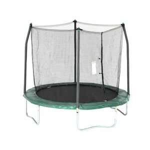Skywalker Outdoor Kids 8 Foot Round Trampoline with Safety Net Enclosure, Green