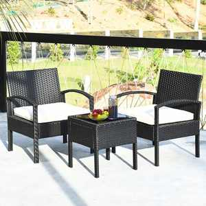 Costway 3PCS Patio Rattan Furniture Set Table & Chairs Set with Coushions Outdoor