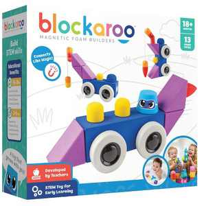 Blockaroo Magnetic Foam Building Blocks, Soft Foam Blocks to Develop Early STEM Learning Skills,  Ultimate Bath Toy for Toddlers & Kids - Roadster Set