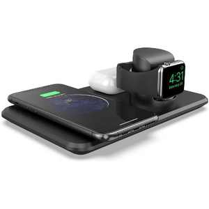 LETSCOM 3 in 1 Wireless Charger  Qi-Certified 15W Fast Charging Station for Apple Watch, AirPods2, Wireless Charging Dock Compatible with iPhone 12/11/XS Max/XR/XS/X/iWatch - W01 - Black