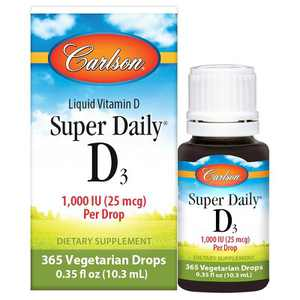 Carlson - Super Daily D3 1000 IU (25 mcg) per Drop, Vitamin D Drops, Vegetarian, Unflavored