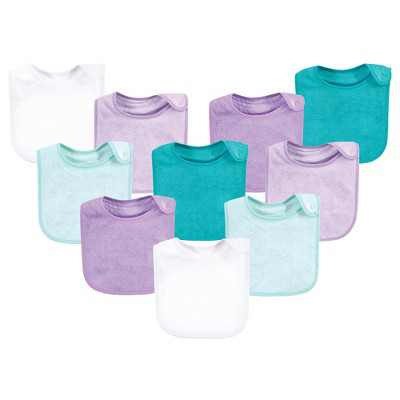 Hudson Baby Infant Girl Rayon from Bamboo Terry Bibs, Purple Mint, One Size