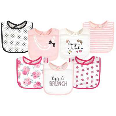 Little Treasure Baby Girl Cotton Bibs, Love Brunch, One Size