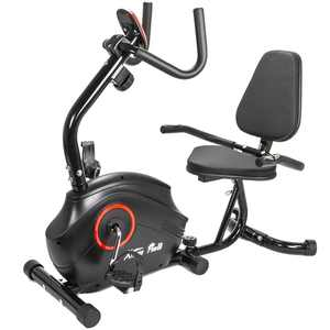 XtremepowerUS Deluxe Recumbent Exercise Bike Cycling Stationary Bike 8-Level Magnetic Resistance Adjustable Seat with Pulse Grip