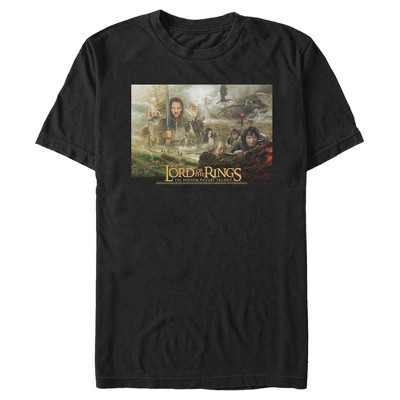 Men's The Lord of the Rings Fellowship of the Ring Trilogy Movie Poster T-Shirt