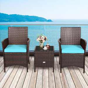 Costway 3PCS Patio Rattan Furniture Set Cushioned Sofa Glass Tabletop Deck Red\Blue