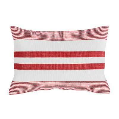 C&F Home Red & White Stripe Rectangle Cotton Woven Pillow