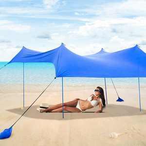Costway Family Beach Tent Canopy w/ 4 Poles Sandbag Anchors 7'x7' UPF50+ Blue