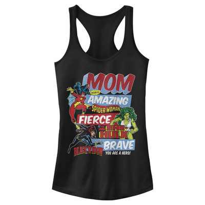 Junior's Marvel Retro Heroic Mom Racerback Tank Top