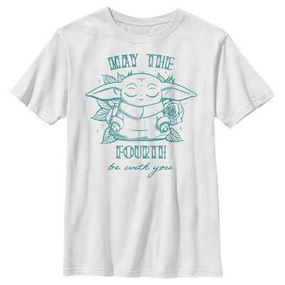 Boy's Star Wars The Mandalorian Grogu May the Fourth Be With You T-Shirt